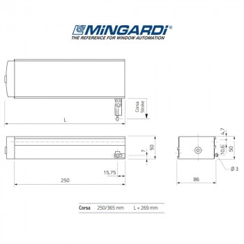 Motore attuatore a catena Mingardi Micro 02 corsa 250/365 mm 230 V 150/300 N Bianco art. 2700463