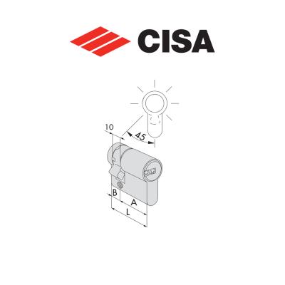 Mezzo cilindro a profilo europeo Cisa Asix 50 mm (40+10) art. 0E30403012