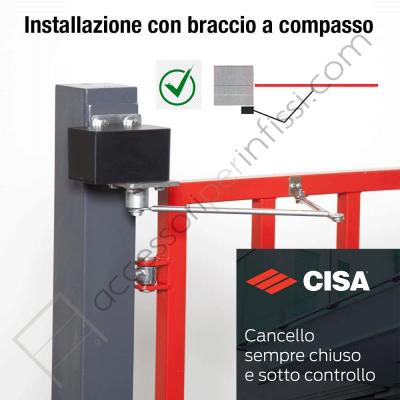 Chiudicancello Cisa C1310-01-0 completo di braccio a compasso