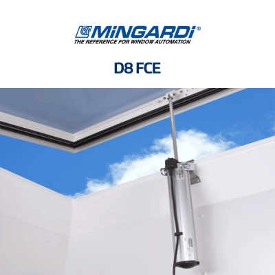 D8 FCE Mingardi | Attuatore elettrico a stelo per finestre a sporgere e lucernari