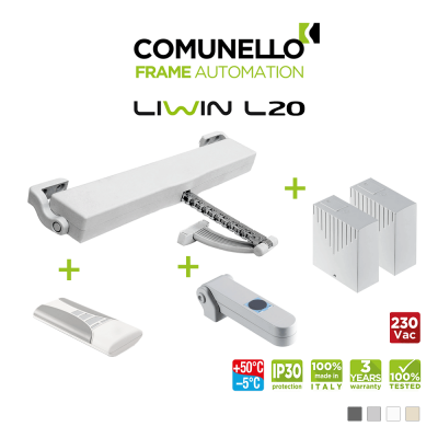 KIT COMUNELLO LIWIN L20 attuatore a catena + telecomando monocanale + unità controllo + sensore pioggia + unità controllo senza ricevente