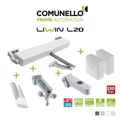 KIT COMUNELLO LIWIN L20 attuatore a catena + telecomando monocanale + unità controllo + sensore pioggia + sensore vento sole + unità controllo senza ricevente