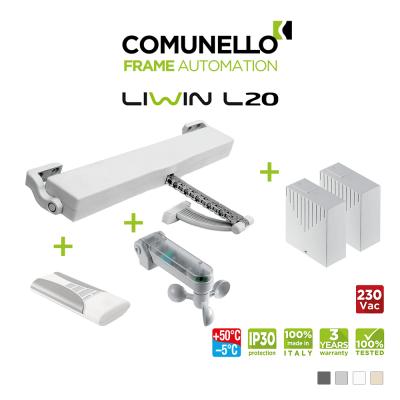 KIT COMUNELLO LIWIN L20 attuatore a catena + telecomando monocanale + unità controllo + sensore vento sole + unità controllo senza ricevente