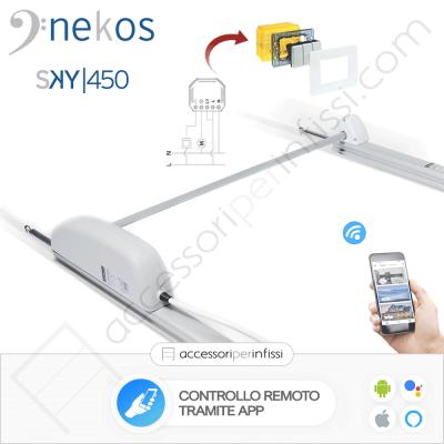 KIT APP SOLUTION - SKY 450 Nekos attuatore a cremagliera - Controllo remoto tramite APP - Compatibile con Google Assistant e Amazon Alexa