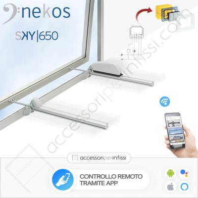 KIT APP SOLUTION - SKY 650 Nekos attuatore a cremagliera - Controllo remoto tramite APP - Compatibile con Google Assistant e Amazon Alexa