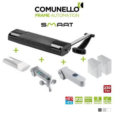 KIT COMUNELLO SMART attuatore a catena + telecomando monocanale + unità controllo + sensore pioggia + sensore vento sole + unità controllo senza ricevente