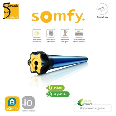 Motore per tende da sole Somfy Radio Sunea 50 IO 25/17 art. 1114233